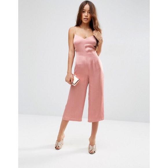 ad004f84ac36 ASOS Pants - ASOS PETITE Pink Satin Cami Strappy Jumpsuit